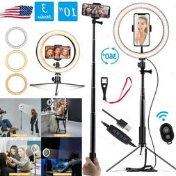 """10"""" LED Ring Light Selfie Dimmable Tripod Stand Phone Holder"""