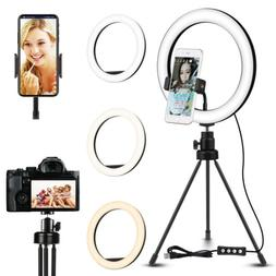 """10"""" LED Ring Light with Tripod Stand & Phone Holder Dimmable"""