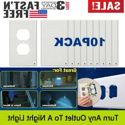10x Wall Duplex Outlet Cover Plate With LED Night Light Hall