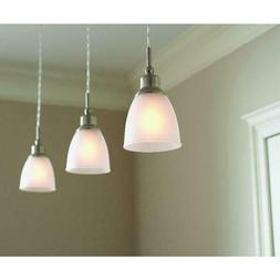 3 Pack Mini-Pendant Lights  Brushed Nickel Frosted Glass Sha