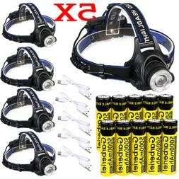 350000Lumen T6 LED Zoomable Headlamp USB Rechargeable 18650