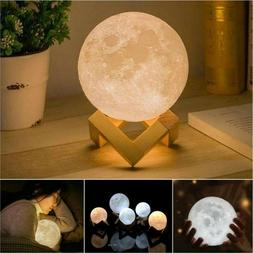 3D Printing Moon Lamp Moonlight USB LED Night Lunar Light To