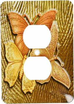 3drose gold embossed background 3 butterflies light