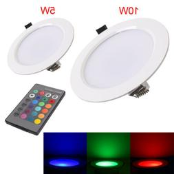 4/8x Dimmable 5W 10W RGB LED Recessed Ceiling Panel Down Lig