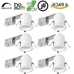 6 Pack - 4 Inch LED Recessed Remodel Can Light, 10 Watt, 750