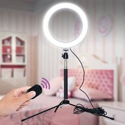 """8"""" LED Ring Light Kit With Stand Dimmable Makeup Phone Camer"""