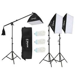 """86"""" Photography Studio 3 Soft Box Light Stand Continuous Lig"""