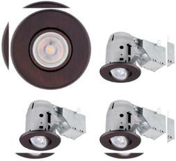 Globe Electric 90964 Recessed 4 pack, Oil Rubbed Bronze Roun