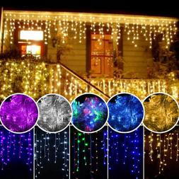 96-1500 LED Hanging Icicle Curtain Lights Outdoor Fairy Xmas