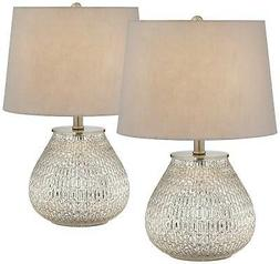 """Accent Table Lamps 19 1/2"""" Set of 2 Teardrop Mercury Glass f"""