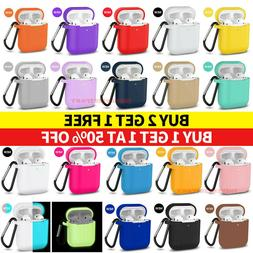 For AirPods Silicone Case + Keychain Protective Cover Skin F