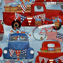 3 Wishes Fabric American Spirit Blue American Truck 16068 BL