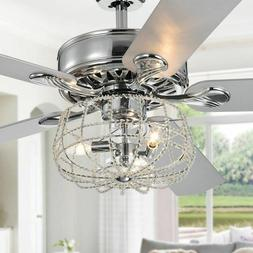 Ceiling Fan with Lights Cage Chandelier Crystal Light Fixtur
