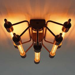 Industrial 5 Light Close to Ceiling Light Vintage Steampunk