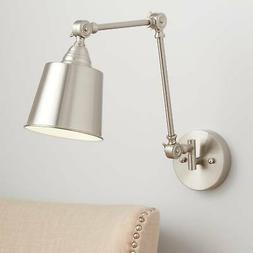 Industrial Swing Arm Wall Lamp Brushed Nickel Hardwired Ligh