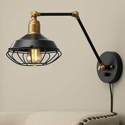 Industrial Wall Lamp Black Brass Plug-In Fixture Adjustable