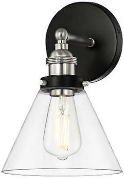Industrial Wall Light Sconce LED Black Brushed Nickel 10 3/4