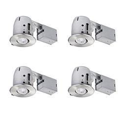 LED Integrated IC Rated Swivel Spotlight 4 Recessed Kit