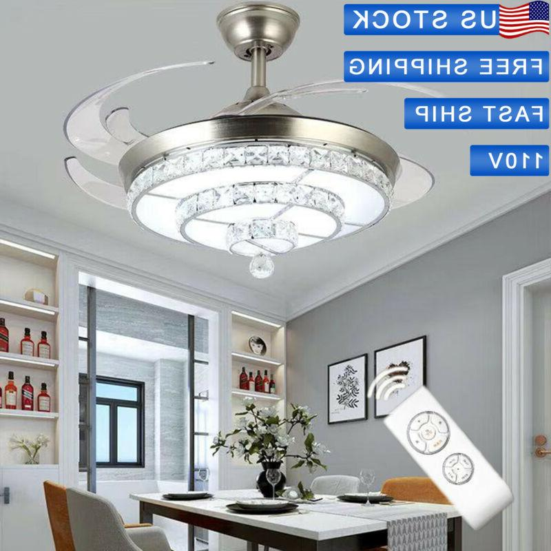 """42"""" Invisible Ceiling Fan Crystal Light Living Room Chandeli"""