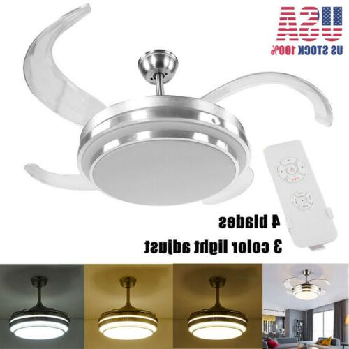 """42"""" Invisible 4 Blades Ceiling Fan Light LED Dimming Dining"""