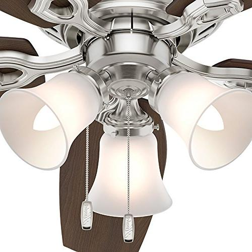 "Hunter Company 53328 52"" Builder Low Profile Ceiling Fan Light, Brushed Nickel"
