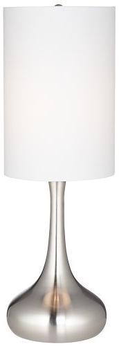 Droplet Table Lamp in Steel Finish with Cylinder Shade