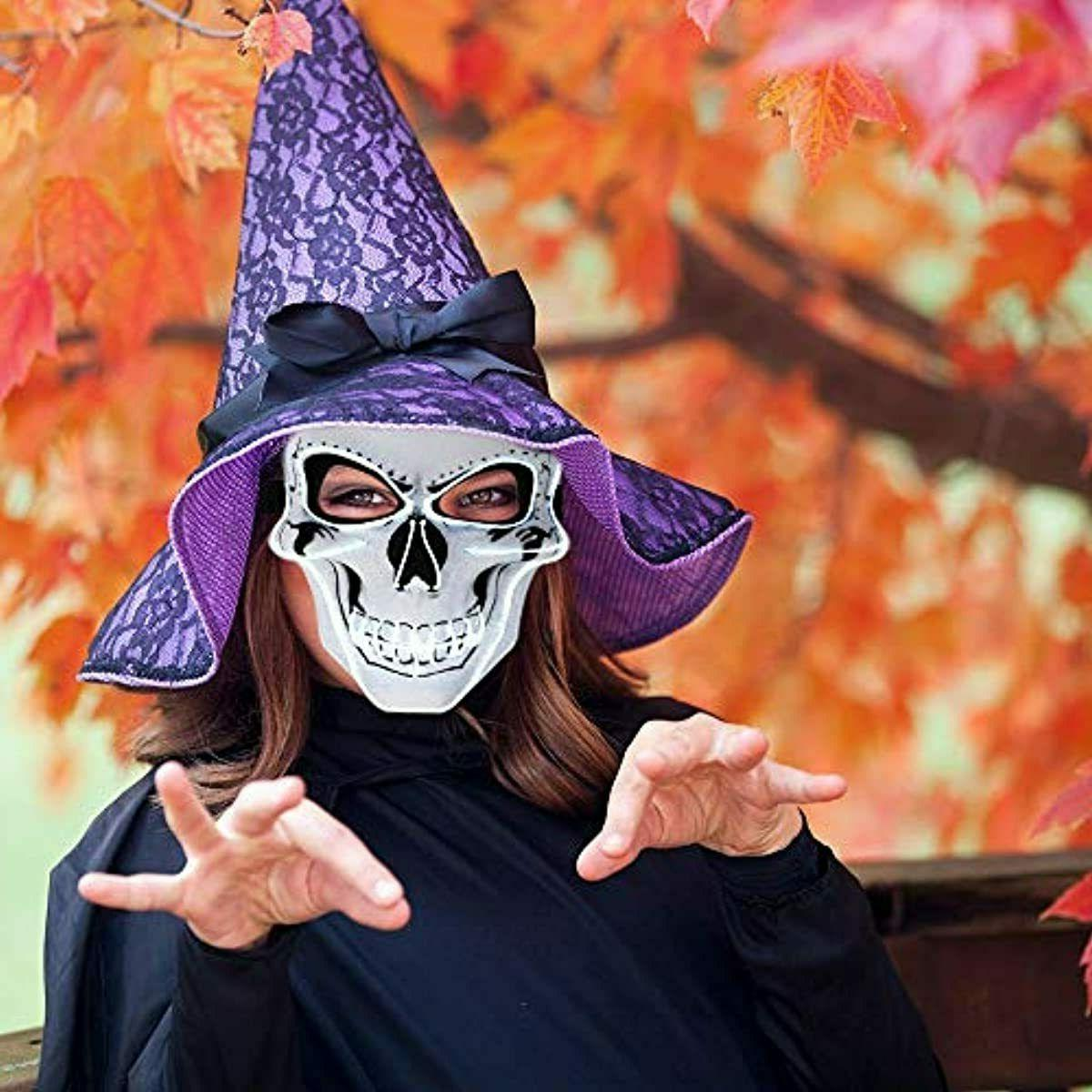 Halloween Light Skull Scary EL Wire Face Costume Party