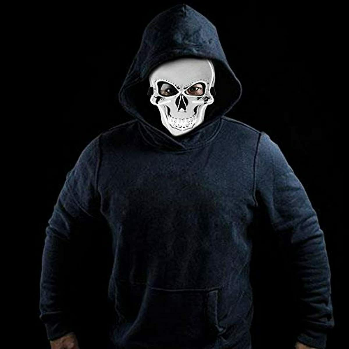 Halloween Skull Scary EL Wire Face Costume Party Cosplay