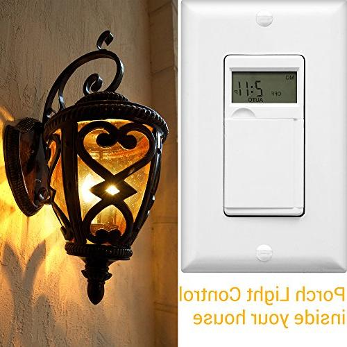 ENERLITES Programmable Switch Digital Timer Switch for Fans, Motors, Timer in 18 ON/OFF 2PCS. NEUTRAL White