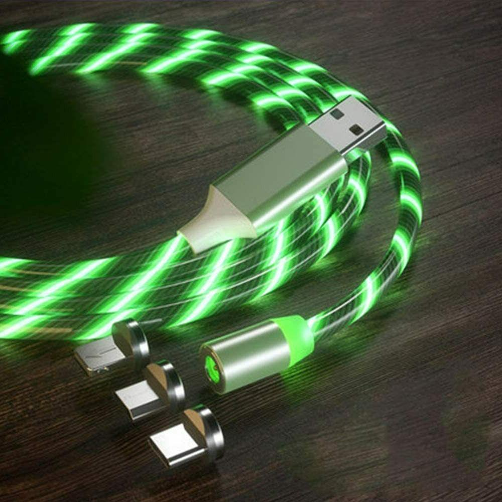 Magnetic LED Light USB Lightning Cable for C Micro