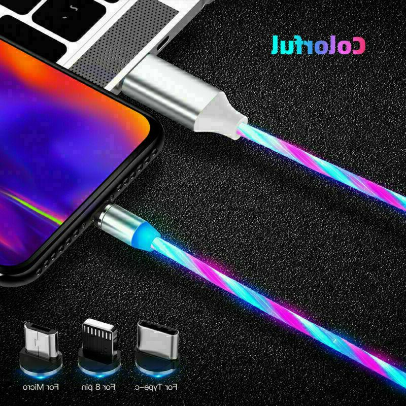Magnetic Light Up USB Lightning Cable for iPhone Type C Micro