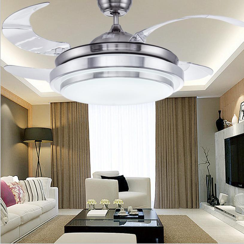 """Modern 42"""" LED Invisible Ceiling Fan Light Dining Room Chand"""