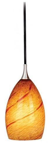 Vaxcel PD30119SN Milano Mini Pendant with Lava Swirl Glass,