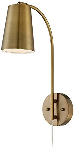 Sully Warm Brass Plug-In Wall Lamp