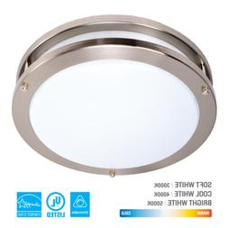 LED Ceiling Flush Mount Round Down Light Chrome Fixture Home