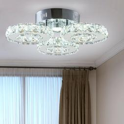 LED Ceiling Light Fixture 3 Rings Contemporary Modern Crysta