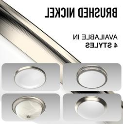 LED Ceiling Light Fixture Brushed Nickel Silver Round Flush