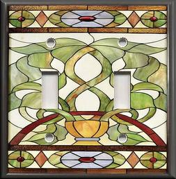 Metal Light Switch Plate Cover - Art Nouveau Stained Glass P