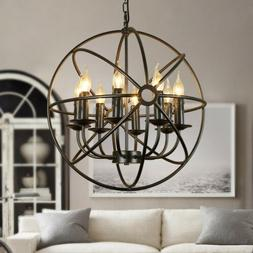 Metal Orb Chandelier Lamp Round Hanging Globe Cage Ceiling P