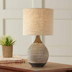 Mid Century Modern Accent Table Lamp Brown Ceramic Living Ro