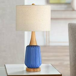 Mid Century Modern Accent Table Lamp Ribbed Blue Ceramic for