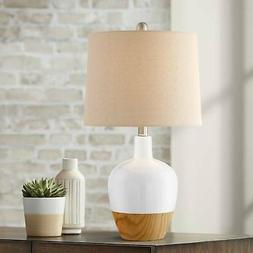 Mid Century Modern Accent Table Lamp White Ceramic Faux Wood