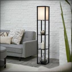 Modern Accent Light Wooden Floor Lamp with Storage Shelves f