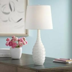 Modern Coastal Accent Table Lamp White Droplet for Living Ro