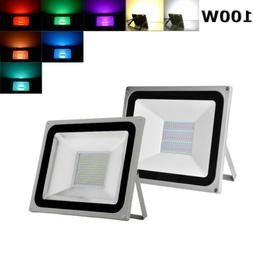 100W Led Flood Light Cool & Warm White RGB Garden Outdoor Li
