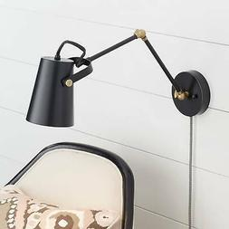 Modern Wall Lamp Bronze Metal Plug-In Fixture Adjustable Up