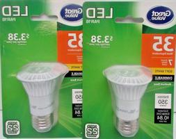 New Lot of 2 Great Value Led Light Bulb, 7w , Dimmable, Soft