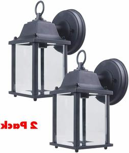 CORAMDEO Outdoor Wall Porch Light - Black Powdered Coat Cast
