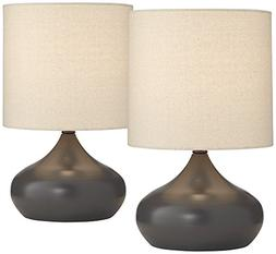 """Steel Droplet 14 3/4""""H Gray Small Accent Lamps Set of 2"""