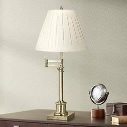 Swing Arm Desk Lamp Antique Brass Pleated Linen Shade for Be